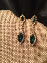 Faux Emerald And Diamond Drop Earrings 269