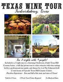 Texas Wine Tour for 4 for 3 Nights