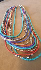 16 Strand Pewter, Turquoise, Coral and Lapis Necklace 166//280