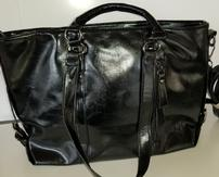 Black Leather Purse With Crossbody Strap 202//163