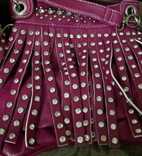Purple Purse with Fringe and Crystals 202//222