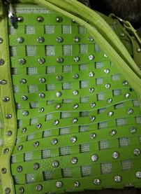 Woven Lime Green Purse with Crystals 202//277