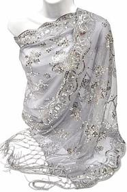 Silver Sequin Beaded Shawl/Scarf 186//280