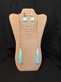 Turquoise and gold Tassel Necklace and earring set 202//269