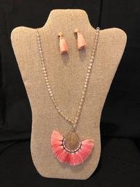 Coral tassel with glass beads necklace with earring set 202//269
