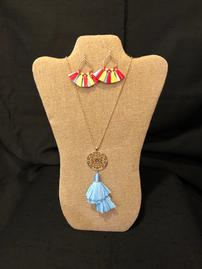 Blue fringed paper tassel necklace with multicolored tassel earrings 202//269
