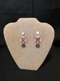 Dark green and mauve leather with copper accent earrings 202//269