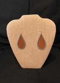 Brown leather teardrop with turquoise stitching earrings 202//279