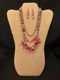 Hot pink elaborately beaded and silver chain necklace and earring set 202//269