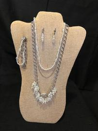 Translucent elaborately beaded and silver chain neacklace, bracelet, and earring set 202//269
