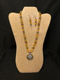 Translucent amber and pewter accent beads necklace with sun pendant & earring set 202//269