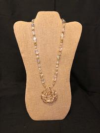 Translucent with gold accent beaded neacklace with floral pendant outlined in gold 202//269