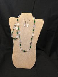 Translucent leaf beads with green bugle beaded necklace, bracelet, and earring set 202//269