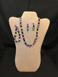 Multicolored bullseye beaded necklace with bracelet and earrings set 202//269