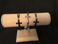Brown and black bead with bronze cross bracelet - Quantity 3 202//151
