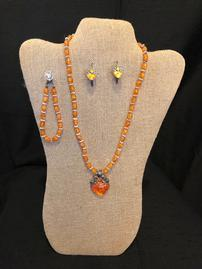 Amber and silver accent bead with stunning amber pendant with amber earrings and bracelet 202//269