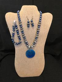 Midnight blue and pewter beaded necklace with enameled pendant, bracelet & earring set 202//269