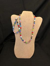 Multicolored glass beaded necklace 202//269