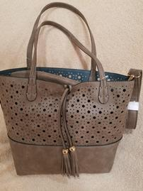 "Taupe Leather ""Charge It Up"" Reversible Bag with Portable Charger"