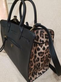 Black Leather With Cheetah Inset Purse 202//269