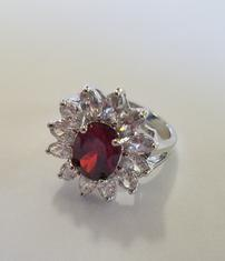 Red Garnet and White Topaz Ring with Layered Silver Ring 202//235
