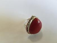 Red Coral Teardrop Cabechon Set in Sterling Silver 202//151