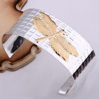 Heavy Silver Cuff with Gold Dragonfly 202//202