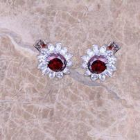 Red Garnet and White Topaz Earrings 202//202
