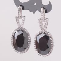 Black Onyx White Topaz Earrings 202//202
