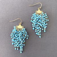 Designer Turquoise Waterfall Seed Bead Earrings 202//202
