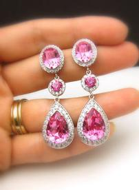 Ruby and Sterling Silver Drop Earrings 202//276