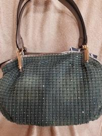 Olive Green Denim Sparkle Purse 202//269