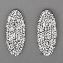 Rhodium Silver Crystal Oval Earrings 202//202