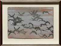 Calligraphy of Cranes Framed Art by Thomas Swanston 202//154