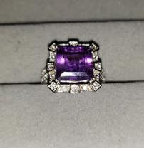 Amethyst WhiteTopaz Sterling Silver Ring 202//208