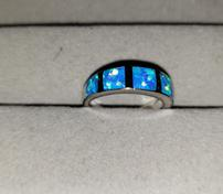 Sterling Silver Blue Fire Opal Inlay Ring 202//176