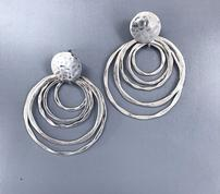 Silver Hammered 5 Ring Earrings 202//178