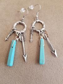 Turquoise and Silver Dangle Earrings 202//269