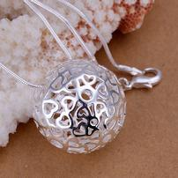 Sterling Silver Hollow Ball Necklace 202//202