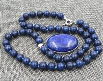 Blue Lapis Lazuli Beaded Necklace 202//158