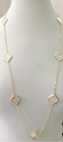 Silver and Gold Quatrefoil Necklace 125//280