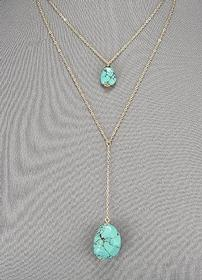 Two Stone Drop Turquoise Necklace 202//280