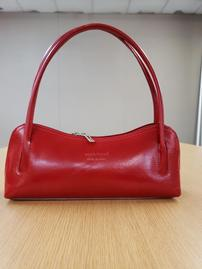 Handpicked From Florence Italy Red Curved Leather Purse 202//269