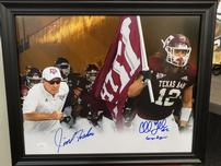 CULLEN GILLASPIA JIMBO FISHER AUTOGRAPHED TEXAS A&M PIECE 202//152