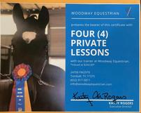 Four private lessons horseback riding